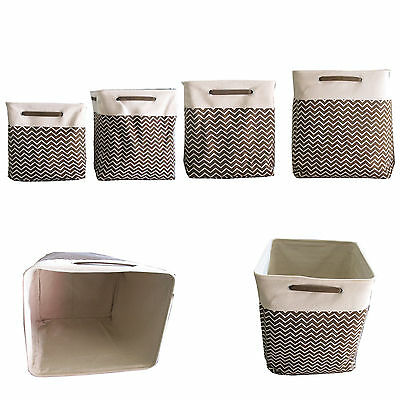 Set of 4 - Canvas Storage Laundry Organizer Bins Brown Chevron Heavy Duty