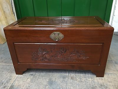 Good Vintage Oriental Carved Hardwood Bedding Box / Toy Chest  / Blanket Box