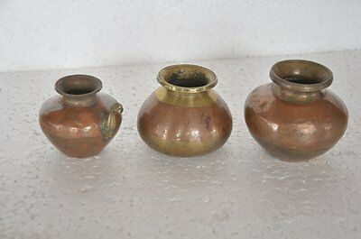 3 Pc Old Brass & Copper Handcrafted Small Unique Holy Water Pot , Rich Patina