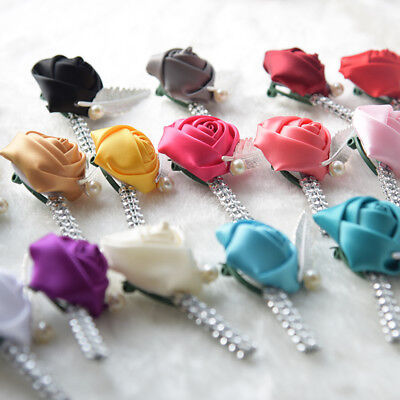 Pick Your Color Silk Rose Boutonniere Wedding Prom Groom Groomsmen Corsage