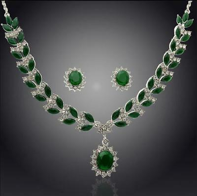 red/green Crystal Necklace Eaarrings Accessory For Woman's Wedding Party present