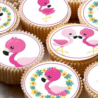 24 Cake topper decorations cupcake fairy cake icing wafer ND1 Flamingos tropical