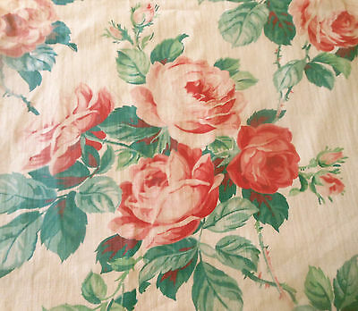 Antique Vtg. English Shabby Cottage Roses Cotton Fabric ~ Soft Pink Red Green