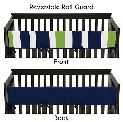 Blue Green Stripes Long Front Rail Guard Baby Boys Teething Cover Crib Protector