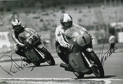 Giacomo Agostini and Phil Read Hand Signed MV Agusta 12x8 Photo MOTOGP.