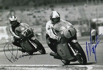 Giacomo Agostini and Phil Read Hand Signed MV Agusta 12x8 Photo MOTOGP 1.