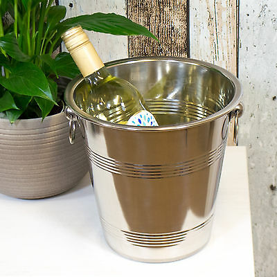 Vintage Stainless Steel Champagne Wine Bottle Cooler Ice Bucket Chiller Holder