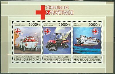 Guinea 2013 Red Cross Rescue Vehicles Sheet Of Three Stamps Mint Nh