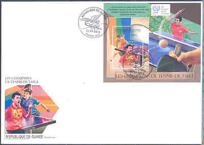 Guinea 2012 Champions Of Table Tennis Ping Pong Souvenir Sheet On Fdc