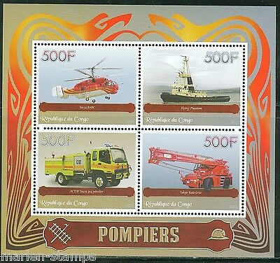Congo 2015 Fire Vehicles Sheet Mint  Nh