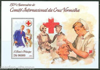 SAO TOME 2013 150th ANNIVERSARY OF THE RED CROSS SOUVENIR SHEET  MINT NH