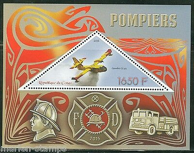 Congo 2015 Fire Vehicles  Souvenir Sheet Mint  Nh