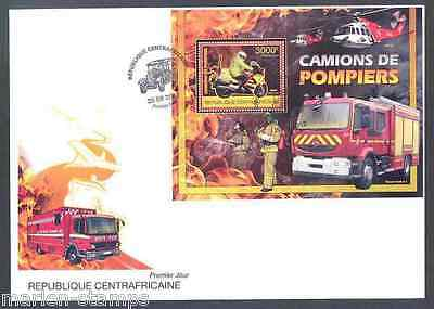 Central Africa  2012  'fire Engines'  Souvenir  Sheet  First Day Cover