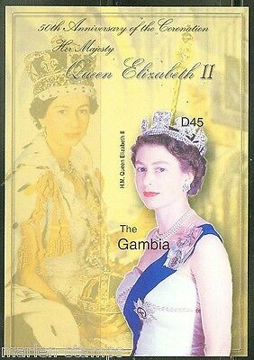 GAMBIA  IMPERFORATED 50th ANNIVERSARY CORONATION QE  II  S/S  SC#27023 MINT NH
