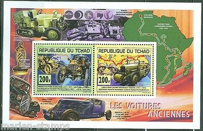 """Chad 2014   """"old Or Ancient"""" Motor  Cars  Collective Sheet Of Two Mint Nh"""