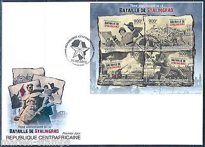 CENTRAL AFRICA  70th ANNIVERSARY BATTLE OF STALINGRAD  SHEET  FDC