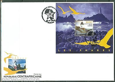 Central Africa 2014 Lighthouses  Souvenir Sheet First Day Cover