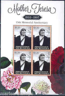 Micronesia Mother Teresa 15Th Memorial Anniversary Sheet Of 4