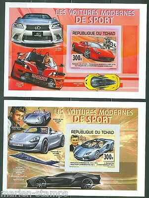 """Chad 2014   """"old Or Ancient"""" Motor Cars  Souvenir Sheet Set Imperforate  Mint Nh"""