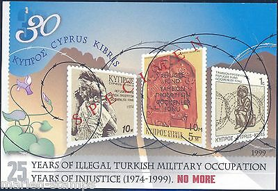 Cyprus  25 Years Of Turkish Occupation S/s  1999 Specimen Overprint  Mint Nh