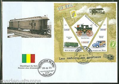 Mali 2013 Postal Vehicles Train Car Carriage  Sheet First Day Cover