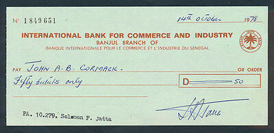 Senegal: 1978 International Bank for Commerce & Industry. Cheque with Duty Stamp