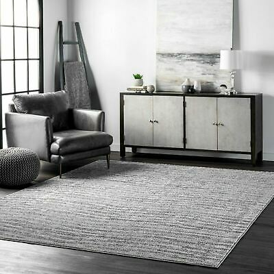 nuLOOM Contemporary Modern Solid and Striped Sherill Area Rug in Gray