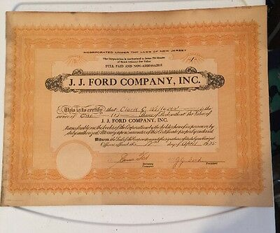 Vintage 1935 J J Ford Company Inc 1 Common Stock Certificate Share No 3 Rare