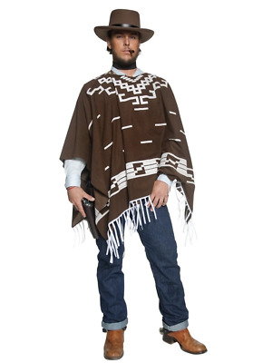 Authentic Western Wandering Gunman Cowboy Brown Poncho Fancy Dress Costume