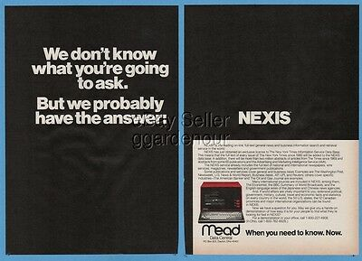 1983 Mead Data Central Nexis Early Web Internet Vintage On Line Computer Ad