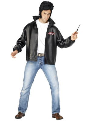 Black Licensed Grease Danny T-Bird 1950's Movie Leather Jacket Fancy Dress
