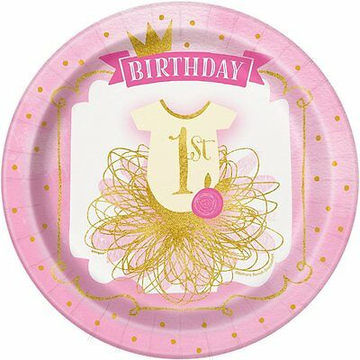 8 x 1st Birthday Pink & Gold Paper Party Plates Girls Age 1 Party Tableware