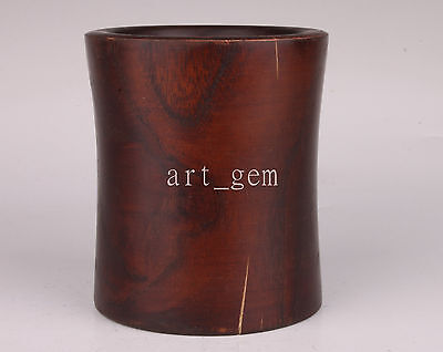 Solid Wood Carving High-Grade Brush Pot Jar Collectable Old Decoration