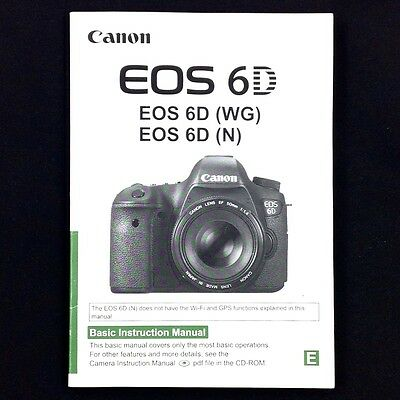 Canon EOS 6D Digital Camera Instruction Manual / Book, English #40391