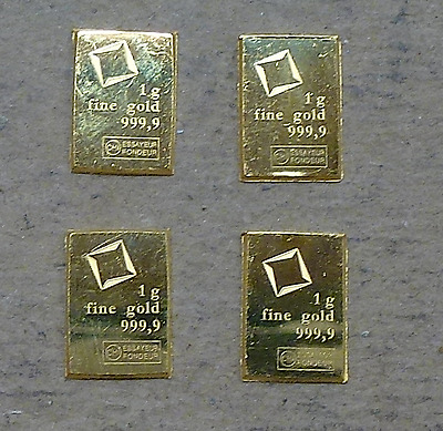 Lot of (4) 1 Gram Valcambi Suisse .9999 Gold Bars, CombiBar Fractional Bars