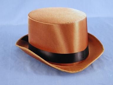 Satin Costume Top Hat Brown One Size