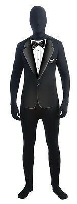 Invisible Man Black Formal Suit Adult Costume Skin Suit One Size Fits Most