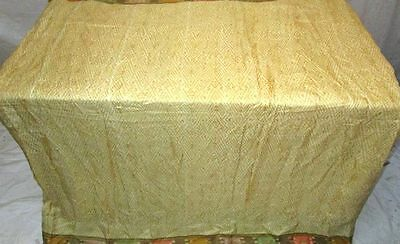 Cream Pure Silk 4 yd Vintage Sari Saree Australia Tablecloth fair postage #EKABC