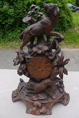 LARGE Antique BLACK FOREST Carved Wood Victorian DOG  and FOX Clock