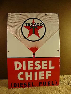 """VintageTexaco Diesel Chief Porcelain Sign  12"""" by 18"""""""