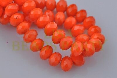 100pcs 4x6mm Faceted Rondelle Crystal Glass Loose Spacer Bead Jade Orange Red