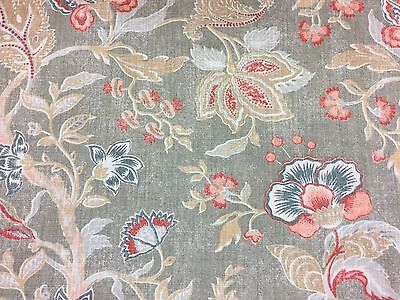 Vintage French Manor House Jacobean  Designer Cotton Curtain Fabric Verdi Sage