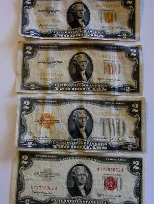 Group of four  $2 United States Notes  circulated, 1928 to 1953 low grade