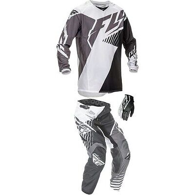 Fly Racing - 2016 Kinetic Vector Jersey,Pant Combo- Black/White/Gray SM,32,XL