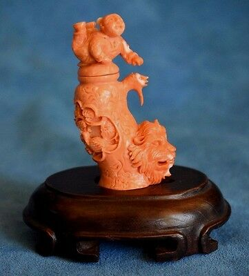 Vintage / Antique Chinese Orange Hand Carved Coral Happy Boy Lion Snuff Bottle