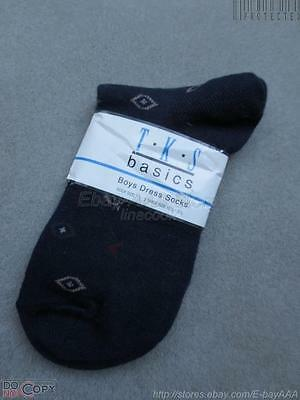 NWT$12 TKS Basics Navy Blue Boys Youth Socks sz 7 1/2-9 --- shoe sz 10 1/2-3/12