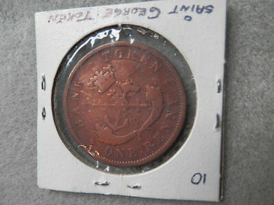 """St George the Dragon Slayer"" 1854 BANK OF UPPER CANADA Halfpenny Copper Color"