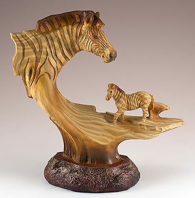 Zebra Carved Wood Look Figurine Resin 6.25 Inch High New In Box