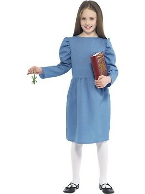 Roald Dahl Matilda Costume Fairytale Fancy Dress with Blue Dress, Newt and Book