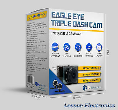 EagleEye Triple Trucker Cam 1 Front Facing Windshield Cam 2 WP Cams TD3CAM1080P